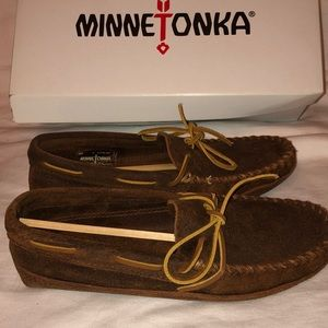 Minnetonka moccasins mocs brown leather mens 7